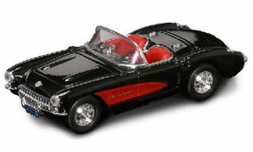 1957 Chevrolet Corvette Convertible, Black - Yatming 94209 - 1/43 Scale Diecast Model Toy Car
