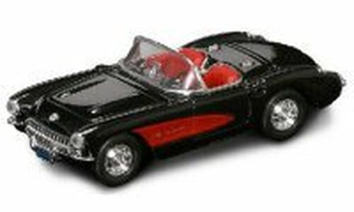 1957 Chevrolet Corvette Convertible, Black - Yatming 94209 - 1/43 Scale Diecast Model Toy Car
