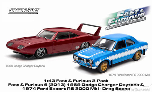 1969Dodge Charger Daytona, 1974 Ford Escort RS 2000, Blue & Red - Greenlight 86251 - 1/43 Scale Diecast Model Toy Cars