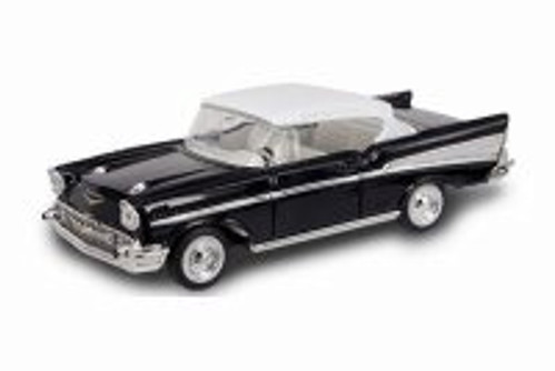 1957 Chevy Bel Air, Black w/ White - Road Signature 94201BK - 1/43 Scale Diecast Model Toy Car
