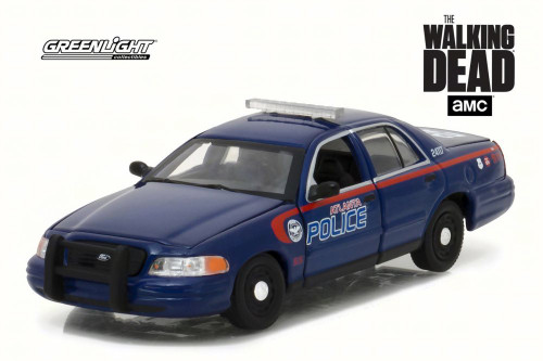 2001 The Walking Dead - Ford Crown Victoria Police Interceptor Atlanta Police, Blue - Greenlight 86510 - 1/43 Scale Diecast Model Toy Car
