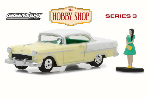1955 Chevy Bel Air with Woman in Dress, Pale Yellow - Greenlight 97030B/48 - 1/64 Scale Diecast Model Toy Car