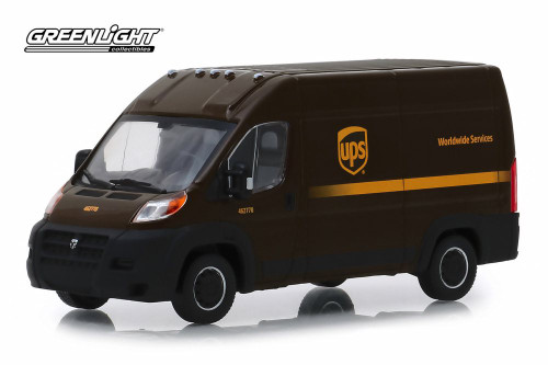 2018 Dodge Ram ProMaster 2500 Cargo Van High Roof , United Parcel Service (UPS) Worldwide Services - Greenlight 86156 - 1/43 Scale Diecast Model Toy Car