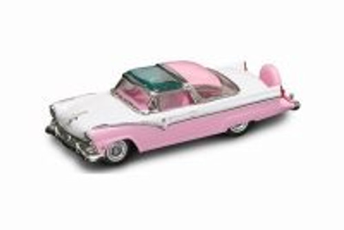 1955 Ford Crown Victoria Hard Top, Pink and White - Lucky Road Signature 94202PK - 1/43 scale Diecast Model Toy Car