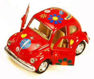 1967 Volkswagen Classic Beetle with Decals, Red - Kinsmart 4026DF - 3.75Diecast Model Toy Car (Brand New, but NOT IN BOX)