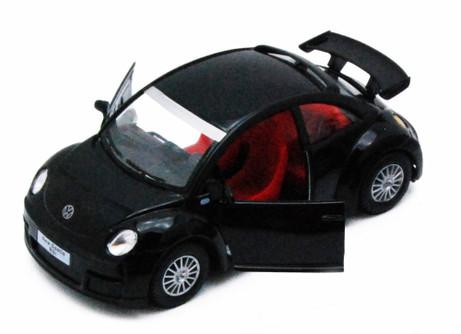 Volkswagen New Beetle Rsi, Black - Kinsmart 5058D - 1/32 scale Diecast Model Toy Car