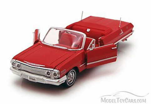 1963 Chevy Impala Convertible, Red - Welly 22434 - 1/24 scale Diecast Model Toy Car (Brand New, but NOT IN BOX)