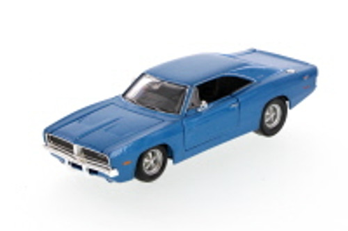 1969 Dodge Charger Hard Top, Blue - Showcasts 34256 - 1/24 Scale Diecast Model Toy Car