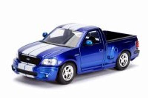1999 Ford F-150 SVT Lightning Pickup Truck, Blue - Jada 30359DP1 - 1/24 Scale Diecast Model Toy Car