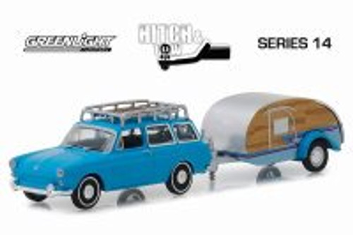 1961 Volkswagen Type 3 Squareback with Tear Drop Trailer, Blue - Greenlight 32140A/24 - 1/64 scale Diecast Model Toy Car