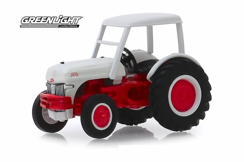 1947 Ford 8N Tractor with Canopy, White and Red - Greenlight 48030/48 - 1/64 scale Diecast Model Toy Car