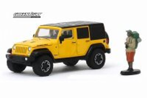2015 Jeep Wrangler Unlimited Rubicon Hard Rock with Backpacker, Yellow - Greenlight 97080/48 - 1/64 scale Diecast Model Toy Car