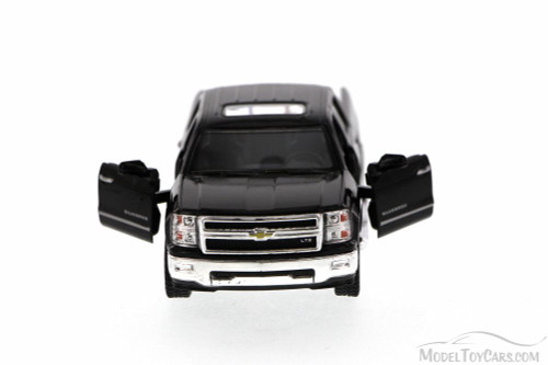 2014 Chevy Silverado Pick-up Truck, Black - Kinsmart 5381D - 1/46 Scale Diecast Model Toy Car