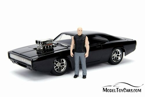 Dodge Charger with Dom Figure, Buildable Model Kit, Fast and Furious - Jada 30698 - 1/24 Scale Diecast Model Toy Car