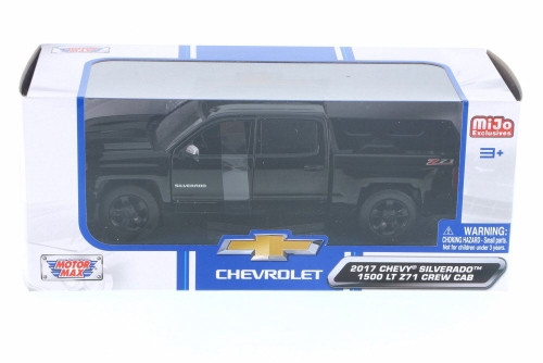 2017 Chevy Silverado 1500 Z71 Crew Cab Pick-Up Truck, Black - Motor Max 79348BK - 1/24 Scale Diecast Model Toy Car