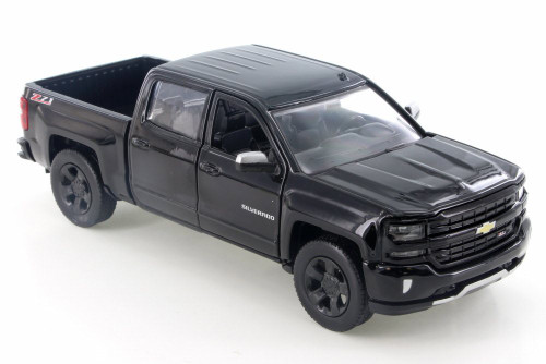 2017 Chevy Silverado 1500 Z71 Crew Cab, Black - Motor Max 74348D - 1/24 Scale Diecast Model Toy Car