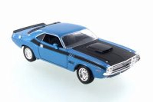 1970 Dodge Challenger T/A,  Blue w/ Black - Welly 28029D - 1/24 Scale Diecast Model Toy Car