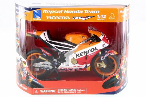 Honda RCV 213 Motorcycle, Orange w/ Decals - New Ray 57753 - 1/12 Scale Vehicle Replica