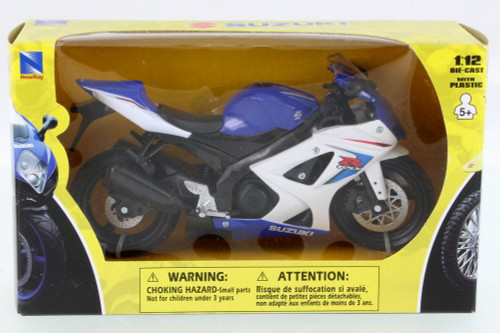 Suzuki GSX-R1000 Motorcycle, Blue w/ Black - New Ray 57003AS - 1/12 Scale Vehicle Replica