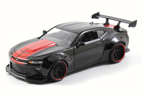 2016 Chevy Camaro SS, Black w/ Red Detail - Jada 98136WA - 1/24 Scale Diecast Model Toy Car