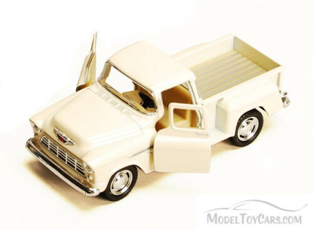 1955 Chevy Stepside Pickup Truck, White - Kinsmart 5330/6D - 1/32 scale Diecast Model Toy Car