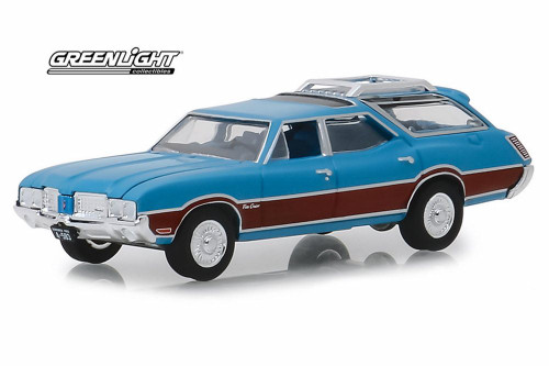 1972 Oldsmobile Vista Cruiser, Viking Blue and Wood Grain - Greenlight 29950/48 - 1/64 Scale Diecast Model Toy Car