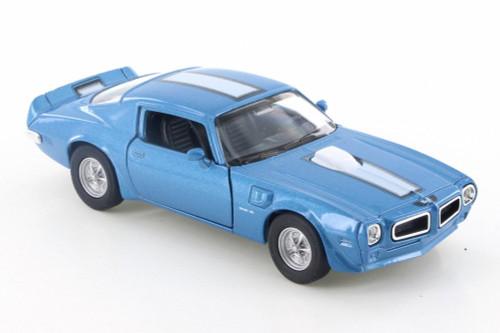 "1972 Pontiac Firebird Trans AM, Blue w/ White - Welly 43735D - 4.5"" Diecast Model Toy Car"