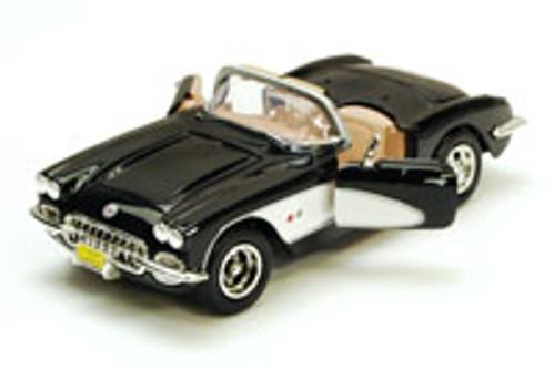 1959 Chevy Corvette Convertible, Black - Motormax 73216 - 1/24 scale Diecast Model Toy Car
