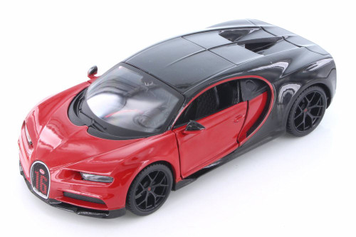 Bugatti Chiron Hard Top, Red with Black - Showcasts 34524 - 1/24 Scale Diecast Model Toy Car