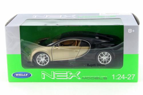 Bugatti Chiron,  Gold w/ Black - Welly 24077W-GLD - 1/24 Scale Diecast Model Toy Car