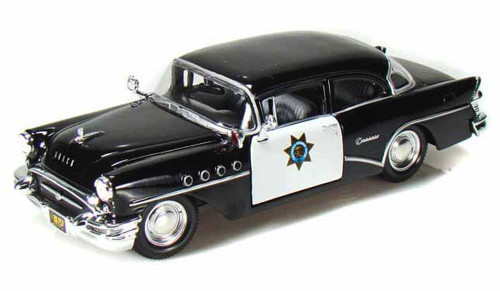 1955 Buick Century California Highway Patrol Car, Black - Maisto 31295 - 1/24 Scale Diecast Model Toy Car