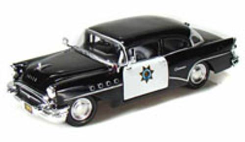 1955 Buick Century California Highway Patrol Car, Black - Maisto 31295 - 1/24 Scale Diecast Model Toy Car