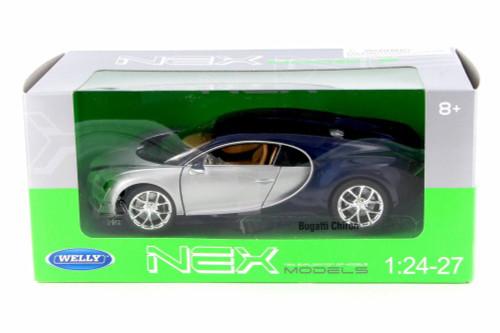 Bugatti Chiron,  Silver w/ Blue - Welly 24077W-SIL - 1/24 Scale Diecast Model Toy Car