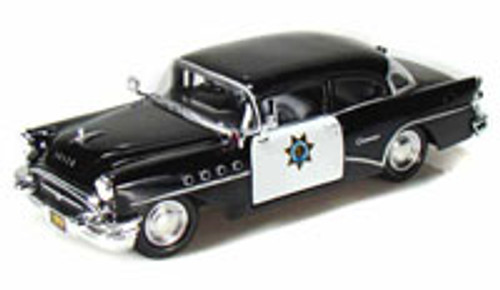 1955 Buick Century California Highway Patrol Car, Black - Maisto 34295 - 1/24 Scale Diecast Model Toy Car (Brand New, but NOT IN BOX)