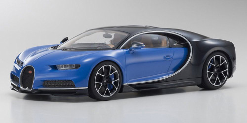 Bugatti Chiron Ousia, Blue w/ Black - Kyosho KYO9548BB - 1/18 Scale Diecast Model Toy Car