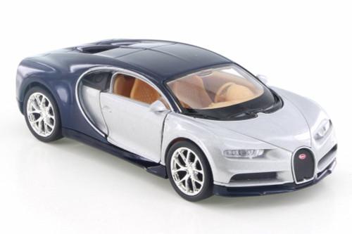 """Bugatti Chiron, Silver w/ Black - Welly 43738D - 4.5"""" Diecast Model Toy Car"""