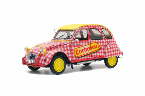 Citroen 2CV6 Cochonou Tour de France, Red with Yellow - Solido S1850021 - 1/18 Scale Diecast Model Toy Car