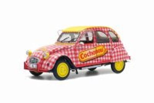 Citroen 2CV6 Cochonou Tour de France, Red with Yellow - Solido S1850021 - 1/18 Scale Diecast Model Toy Car