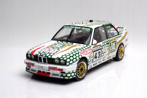 1991 BMW E30 M3 DTM #43 DTM Allen Berg Hardtop, White and Green - Solido S1801505 - 1/18 scale Diecast Model Toy Car