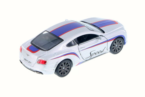 2012 Bentley Continental GT Speed with Decals Hard Top, Silver w/ Blue - Kinsmart 5369DF - 1/38 Scale Diecast Model Toy Car