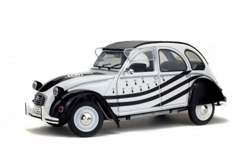 1978 Citroen 2CV6 Breizh Hard Top, White and Black - Solido S1850018 - 1/18 Scale Diecast Model Toy Car