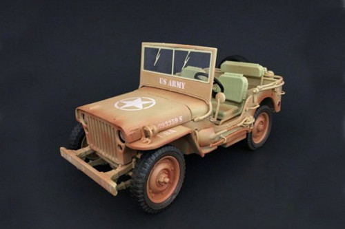 ARMY Jeep Vehicle US ARMY Rusty Version, Desert - American Diorama 77408 - 1/18 Scale Diecast Model Toy Car