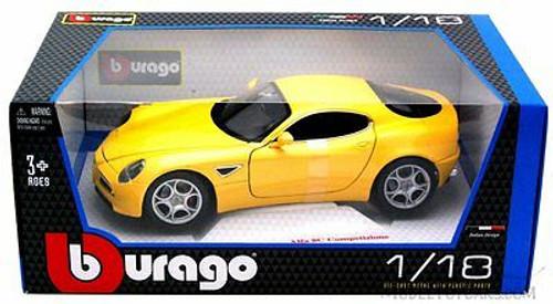 Alfa 8C Competizione, Yellow - Bburago 12077 - 1/18 scale Diecast Model Toy Car