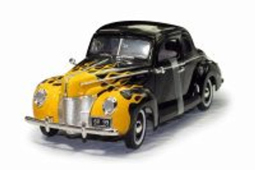 1940 Ford Deluxe Hardtop, Black with Yellow Flames - Motor Max 73108TC/BKF - 1/18 scale Diecast Model Toy Car