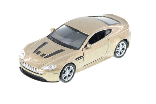 "Aston Martin V12 Vantage , Gold - Welly 43624 - 4.5"" Long Diecast Model Toy Car (Brand New, but NOT IN BOX)"