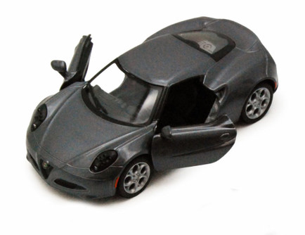 2013 Alfa Romeo 4C, Silver - Kinsmart 5366D - 1/32 scale Diecast Model Toy Car (Brand New, but NOT IN BOX)