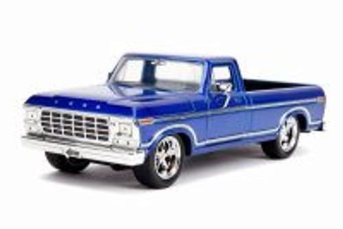 1979 Ford F-150 Custom Edition Pickup, Blue - Jada 31627DP1 - 1/24 scale Diecast Model Toy Car