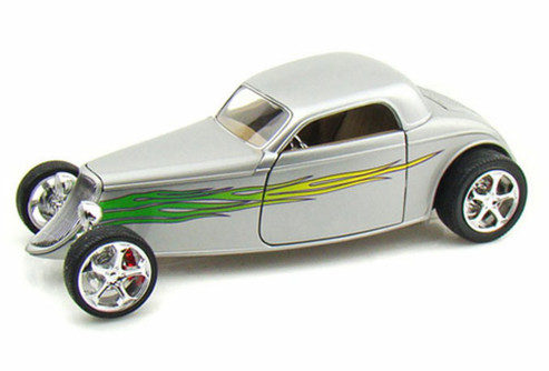 1933 Ford Coupe, Silver w/ Flames - Yatming 92839 - 1/18 Scale Diecast Model Toy Car