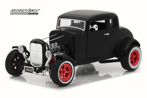 1932 Ford Custom Hot Rod, Matte Black - Greenlight 12975 - 1/18 Scale Diecast Model Toy Car