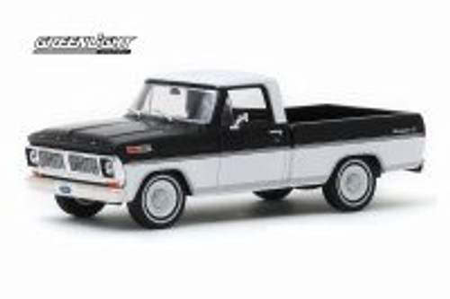 1970 Ford F-100 Ranger XLT Pickup Truck, Black and White - Greenlight 86338 - 1/43 scale Diecast Model Toy Car